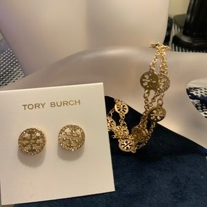 Tory Burch delicate pave bracelet + earrings